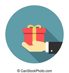 Gift box in hand flat icon with long shadow Editable EPS...