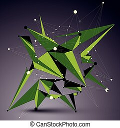 Spatial vector green digital apex object, 3d technology...