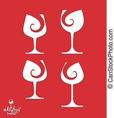 Beautiful vector sophisticated wine goblets, alcohol theme...