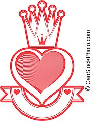 Loving heart artistic illustration with queen crown and ribbon. Royal symbol, imperial accessory. Valentine's day romantic design element, best for use in advertising and graphic design.