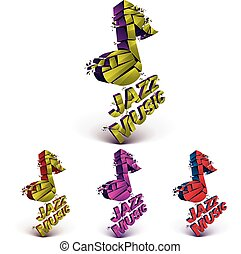 Colorful 3d vector musical notes collection broken into pieces, explosion effect. Set of dimensional art melody symbols, jazz music theme.