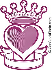 Loving heart artistic illustration with king crown. Royal...
