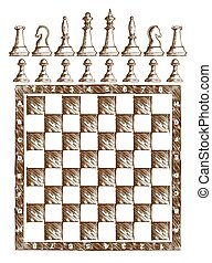 chessboard Drawing with figures.