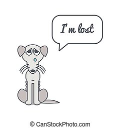 Lost dog with speech bubble and saying - Bony poor lost dog...