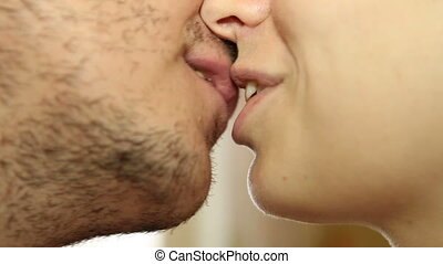 Kissing couple close up HD