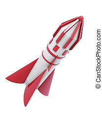 Spaceship isolated on a white background. 3d render image.