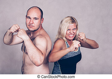 Aggressive couple ready to fight