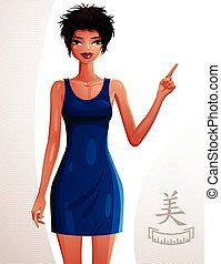 Beautiful coquette lady illustration, full body portrait of a sexy slim brunette pointing at something to side with her finger. People expression of a young pretty woman.