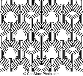 Monochrome illusory abstract geometric seamless pattern with...