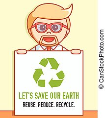 Business man earth recycle