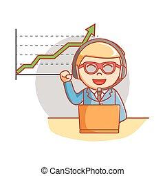 Business man good chart