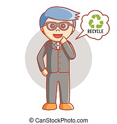 Business man think recycle