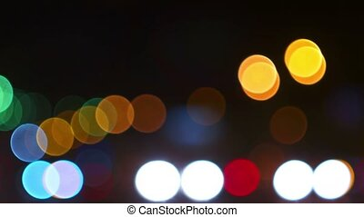 Night city lights blurred traffic going out of focus. Out of...