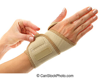 Compression joint stabilizer hand - Injury hand, a woman in...
