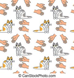 Good hands for cats seamless pattern.