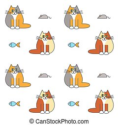 Happy furry cats seamless pattern. - Happy furry calico cats...