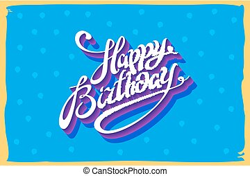 Vintage retro happy birthday card, with fonts, grunge frame and chevrons seamless background. vector