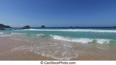 sea wave on a sandy beach a summer day