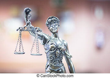 Legal justice statue in law firm office - Legal blind...