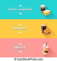 Set of 3 horizontal fastfood banners. Vector illustration, eps10.