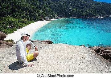 Summer man vacation Tropical beach, Similan Islands, Andaman...