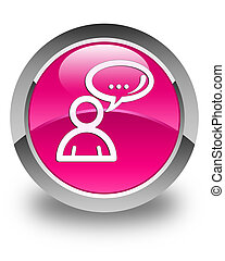 Social network icon glossy pink round button