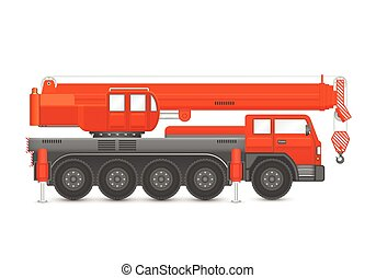 Mobile crane vector - Vector of mobile crane isolated on...