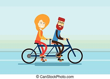 Couple Man Woman Ride Tandem Bicycle Flat Vector...
