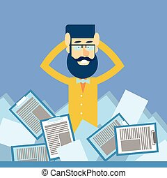 Business Man Hold Head Documents Paperwork Problem Concept...
