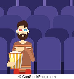 Man Sit Watching Movie In Cinema 3d Glasses With Popcorn...