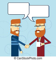 Two Casual Business Man Greeting Shake Hands With Chat Bubble