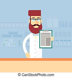Pharmacy Worker Drugstore Interior Male Pharmacist Hold...