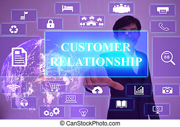 CUSTOMER RELATIONSHIP  concept  presented by  businessman touching on  virtual  screen ,image element furnished by NASA