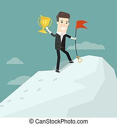 Successful businessman standing on top of a mountain peak with a cup winner. Business concept cartoon illustration