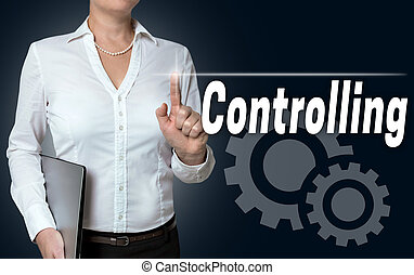 controlling touchscreen is served by businesswoman