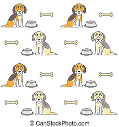 Poor unhappy hungry dogs seamless pattern. - Poor unhappy...