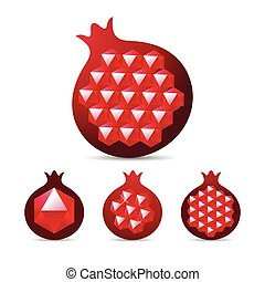 Pomegranate with gemstone ruby garnet seed. Vector...