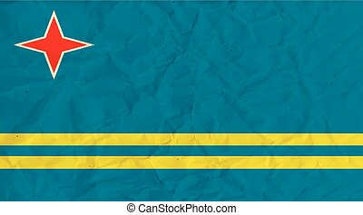Aruba paper flag - Vector image of the Aruba paper flag