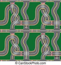 Seamless road map with bridges, bends, asphalt on green...