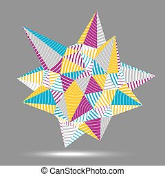 Complicated abstract colorful 3D striped shape, vector...