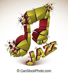 Golden 3d vector musical note broken into pieces, explosion...