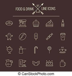Food and drink icon set Vector light yellow icon isolated on...