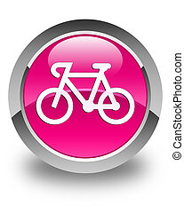 Bicycle icon glossy pink round button