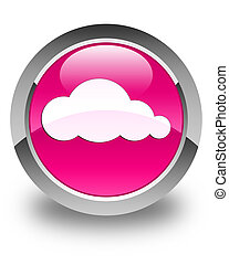 Cloud icon glossy pink round button