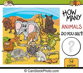 count animals activity for kids - Cartoon Illustration of...