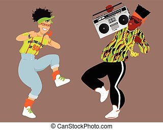 1980s hip hop - Young couple dressed in 1980s fashion...