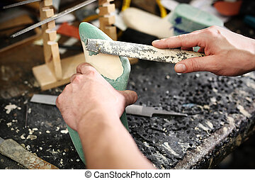 shoemaking workshop - shoemaker, hand made leather shoes