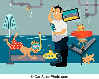 Leaky plumbing - Kid snorkeling in a flooded room, his...