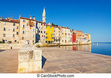 view on old town in Rovinj, Istria, Croatia Vintage look