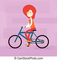 Casual Woman Ride Bicycle Flat Vector Illustration
